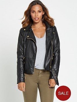 rochelle-humes-strap-detail-leather-jacket