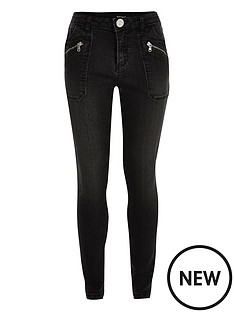 river-island-girls-washed-black-utility-skinny-jeans