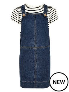 river-island-girls-denim-pinnynbspdress-and-stripe-tee-set