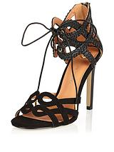 Whip Stitch Tie Ankle Two Part Sandal