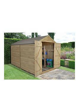 forest-8-x-10ft-double-door-overlap-pressure-treated-apex-shed-with-optional-assembly