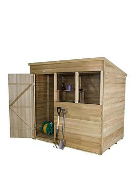 forest-7-x-5ft-sinlge-door-2-window-overlap-pressure-treated-pent-shed-with-optional-assembly