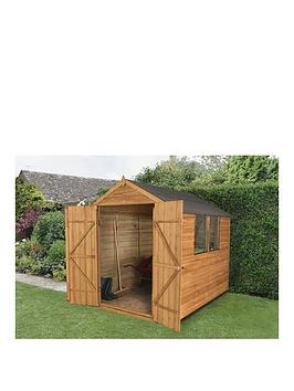 forest-6-x-8ft-double-door-2-window-overlap-dip-treated-apex-shed-with-optional-base-and-assembly