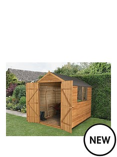 forest-8-x-6ft-double-door-2-window-overlap-dip-treated-apex-shed-with-optional-base-and-assembly