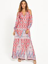 Split Sleeve Printed Maxi Dress