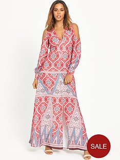 rochelle-humes-split-sleeve-printed-maxi-dress