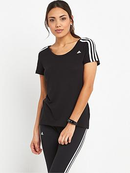 adidas-essentials-3-stripes-slim-t-shirt-black
