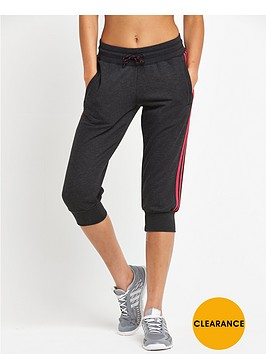 adidas-essentials-3-stripes-three-quarter-pant-black