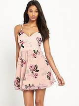 Ariana Grande Printed Rose Skater Dress
