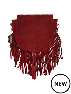 glamorous-suede-look-tassel-saddle-bag