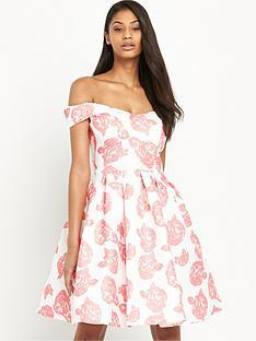 chi-chi-london-rose-print-bardot-full-midi-dress