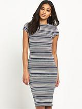 Jacquard Stripe Bodycon Dress