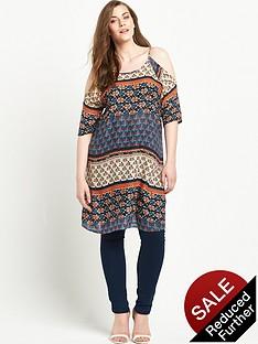 so-fabulous-cold-shoulder-printed-longline-top