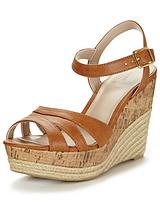 Wood Two Part Espadrille Wedge Sandal
