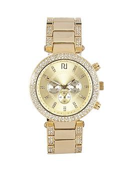 river-island-river-island-gold-tone-embellished-surround-bezel-multilink-ladies-watch