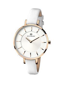accurist-contemporary-white-strap-ladies-watch