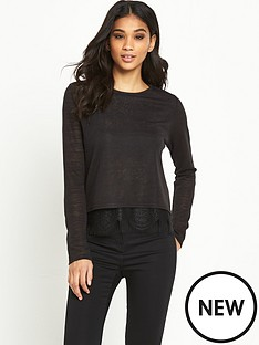 miss-selfridge-long-sleeve-eyelash-split-back-t-shirt