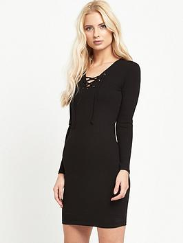 miss-selfridge-eyelet-rib-dress