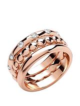 Rose Gold Plated Crystal Set Stacker Rings