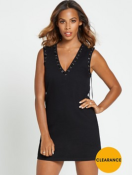rochelle-humes-fringed-back-denim-dress