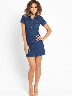 myleene-klass-denim-short-sleeved-shirt-dress