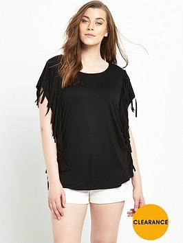 v-by-very-curve-fringe-side-t-shirt-black
