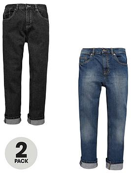 V By Very Boys Straight Fit Jeans In Dark And Mid (2 Pack)