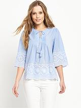 Embroidered Pin-Tuck Blouse