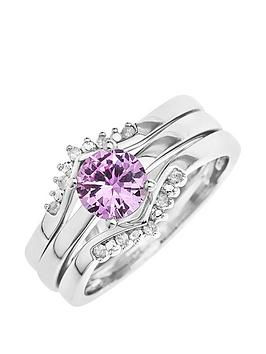 Love Gold 9Ct White Gold Created Pink Sapphire And 8 Point Diamond 3 Piece Ring Set