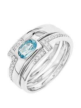 Love Gold 9Ct White Gold Blue Topaz And 15 Point Diamond 3 Piece Ring Set