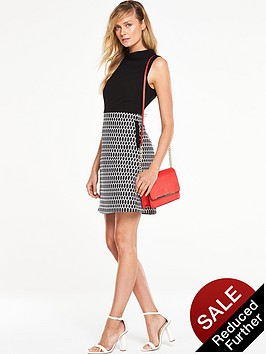 v-by-very-roll-neck-2-in-1-geo-contrast-dress