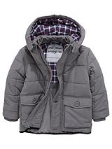 Boys Check Lined Padded Coat with Hood
