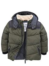 Toddler Boys Borg Collar Green Padded Coat with Hood