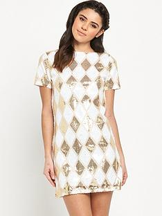 rare-harlequin-sequin-shift-dress