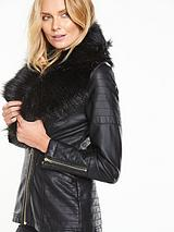 Longline PU Jacket With Faux Fur Collar