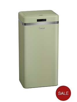 swan-retro-45-litre-square-sensor-bin-in-green