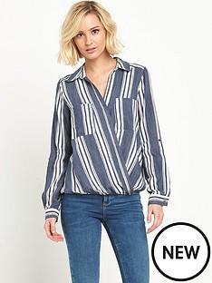 river-island-river-island-navy-stripe-wrap-blouse