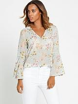 Floral Fluted Sleeve Blouse