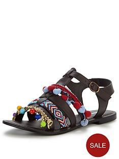 glamorous-glamorous-pom-pom-flat-sandal