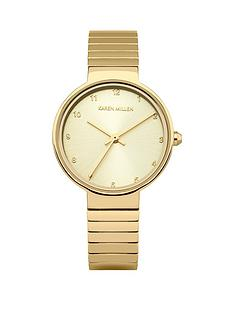 karen-millen-light-gold-sunray-dial-solid-stainless-steel-polished-strap-ladies-watch
