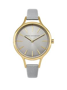 french-connection-french-connection-brushed-cool-grey-dial-pearlised-grey-leather-strap-ladies-watch