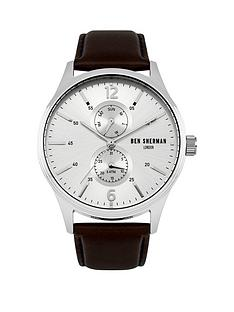 ben-sherman-silver-sunray-multi-dial-brown-genuine-leather-strap-mens-watch