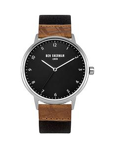 ben-sherman-matte-black-dial-dark-grey-nylon-webbing-tan-embossednbspmens-strap-watch