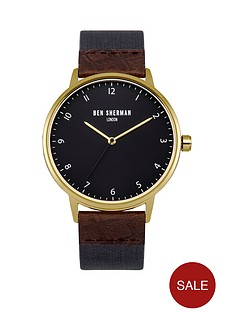 ben-sherman-matte-cool-grey-dial-blue-nylon-webbing-brown-embossed-leathernbspstrap-mens-watch