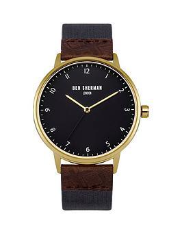 ben-sherman-matte-cool-grey-dial-blue-nylon-webbing-brown-embossed-leathernbspstrap-mens-watch