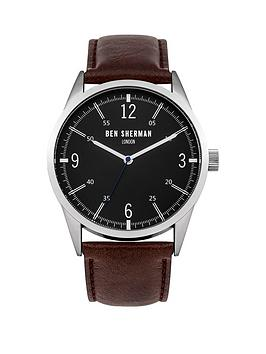 ben-sherman-matte-black-dial-brown-leathernbspstrap-mens-watch