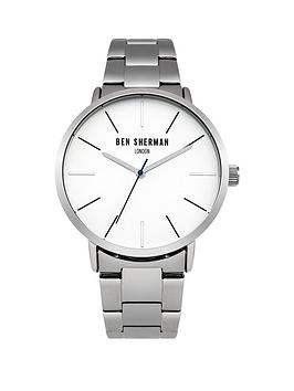 ben-sherman-matte-white-dial-silver-tone-stainless-steelnbspbracelet-mens-watch