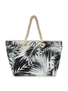 v-by-very-canyon-palm-print-beach-bag
