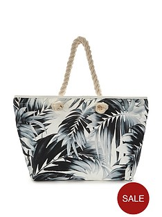 v-by-very-canyon-palm-print-beach-bag