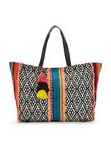 Aztec Stripe Panel Beach Bag